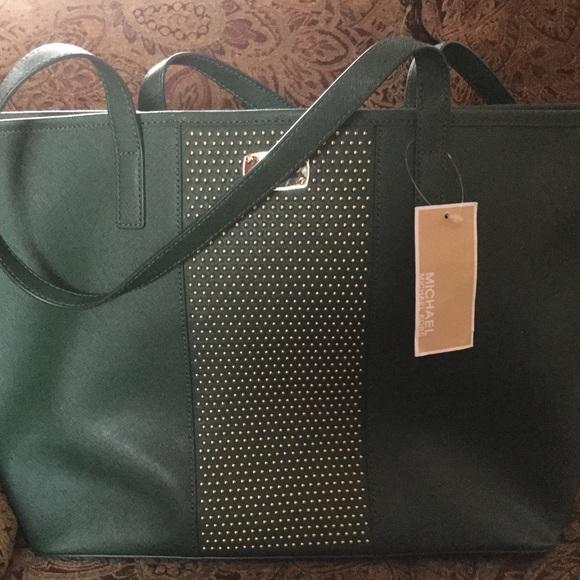 5a264bbf203513 Michael Kors Bags | Nwt Microstud Ctr Stripe Lg Travel Tote Leather ...